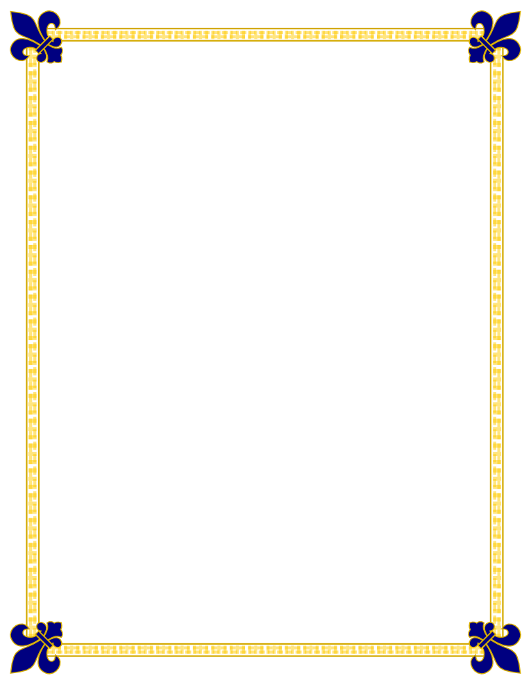 Fleur De Lis Gold and Blue Border | Free Borders And Clip Art.com