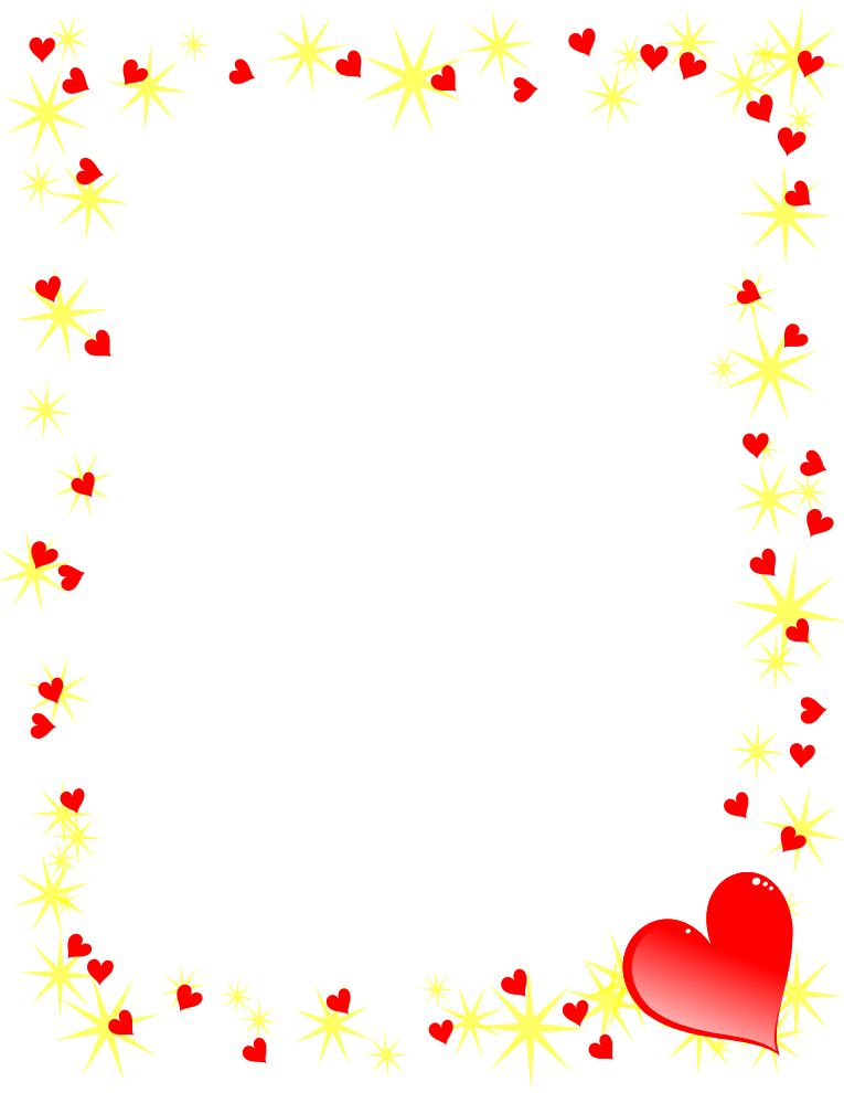 Hearts and Gold Stars Border | Free Borders And Clip Art.com
