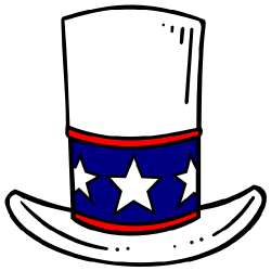 patriotic top hat with stars flat