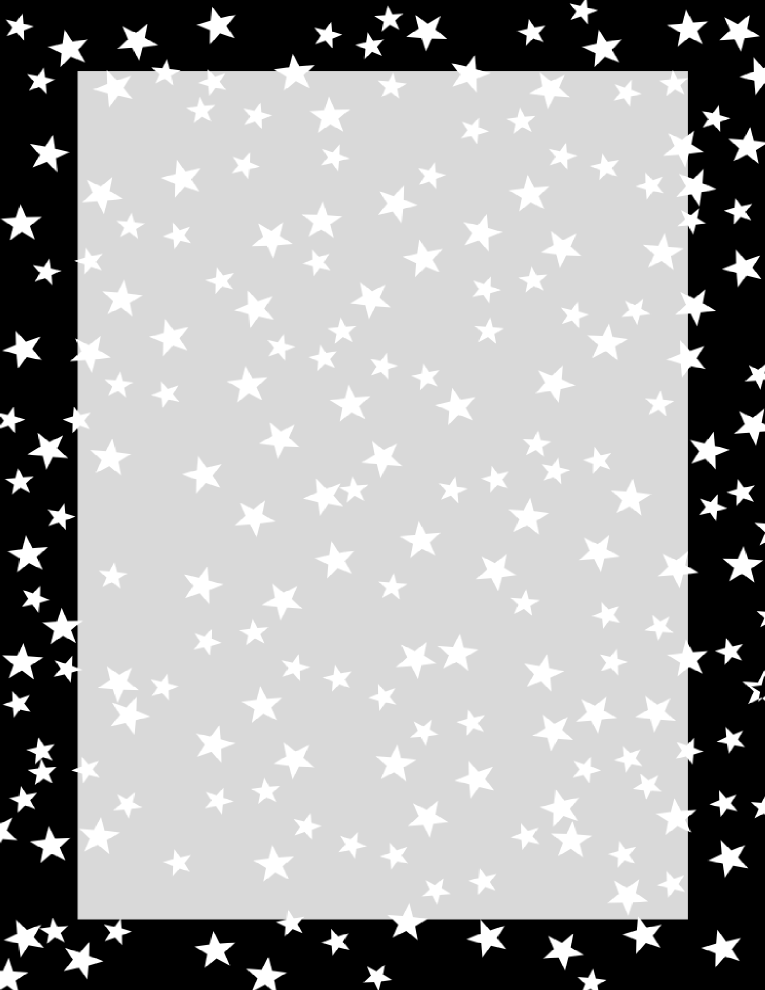 Stars Border Black and White