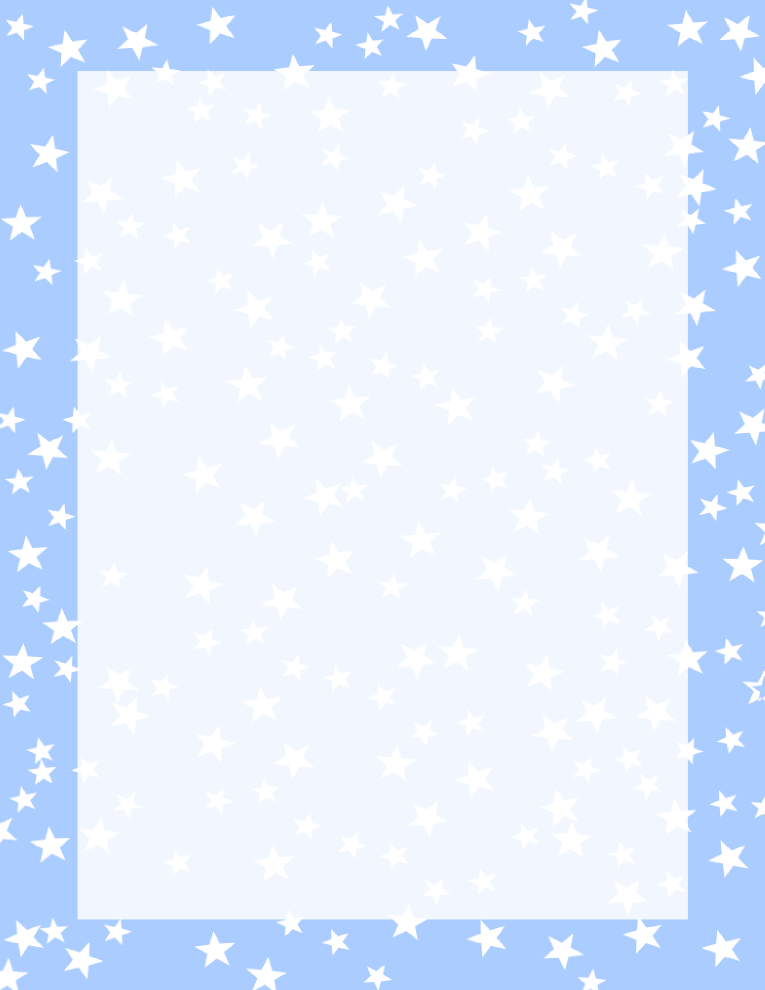 Stars Border Light Blue and White