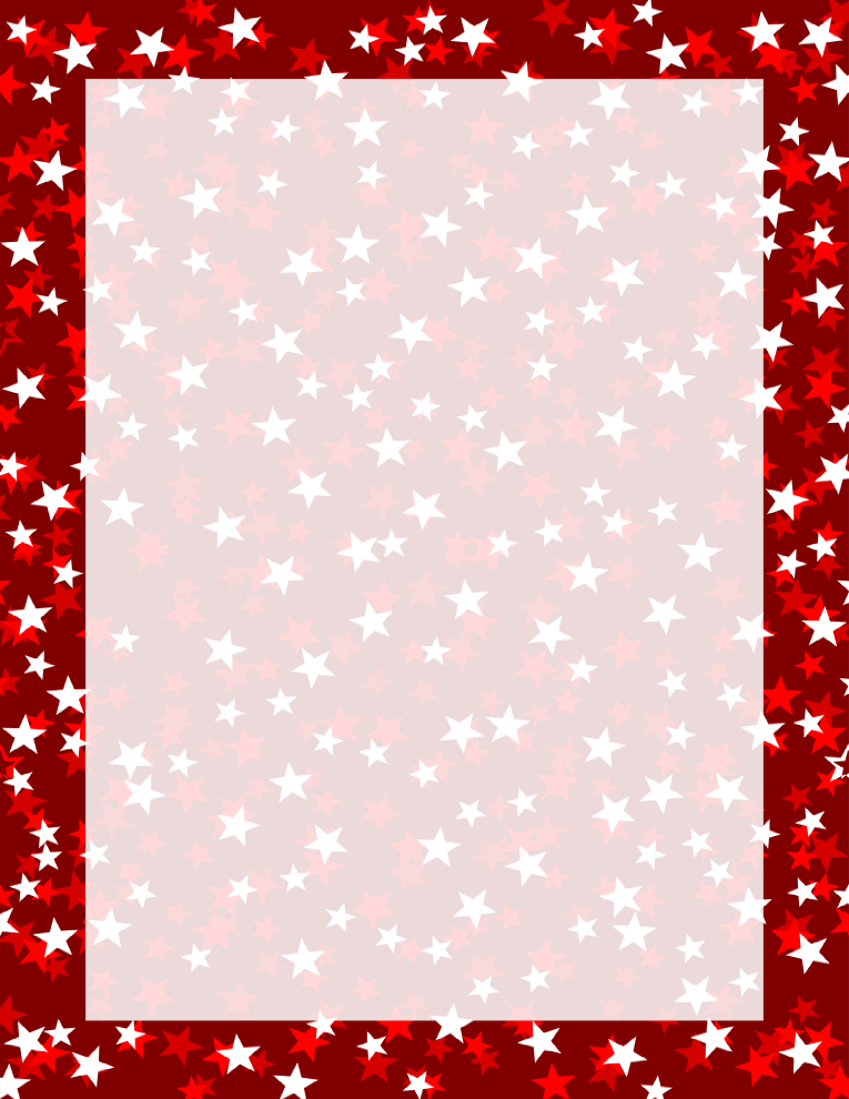 Red Three Tone Stars Border