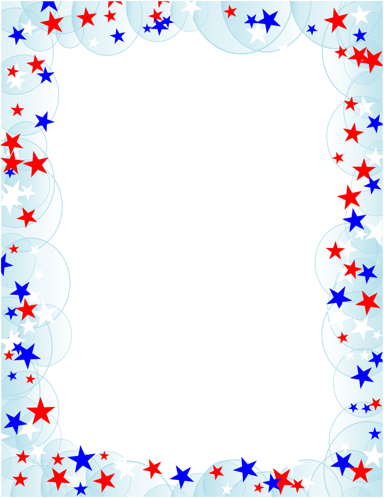 Red, Blue, White Stars with Bubbles