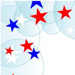 Red, White, and Blue Stars with Bubbles Border