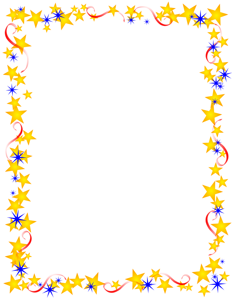 Red Gold And Blue Stars Border Free Borders And Clip