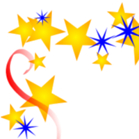 Gold Red Blue Scatter Stars Border
